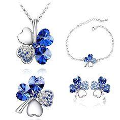 [Xmassale] z&X® austriaco set gioielli di cristallo quadrifoglio delle donne (orecchini& collana& braccialetto) – EUR € 12.47