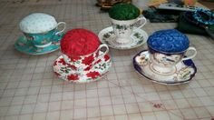 Teacup pincushions made for my tea drinking sewing buddies
