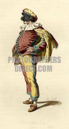 Pulcinella costume dated 1685 drawn by Maurice Sand , published in 1860 Commedia dell Arte character stock photo