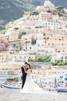 What a backdrop for Christine of Tour de Lust's destination wedding on the Amalfi Coast in Italy. We think she looks beautiful in our tulle embroidered ballgown. Luxury Wedding, Destination Wedding, Amalfi Coast Wedding, Positano, Tulum, Travel Style, Backdrops, Cool Photos, Tours