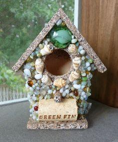 Beach Wine Cork Birdhouse Ocean Seashells by OffTheHookbyLora, $8.00
