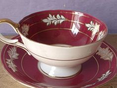 white with red teacups | Aynsley red tea cup set, English tea cup and saucer, red and white ...