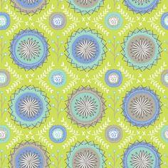 Tissu designer anglais - dashwood studio design phyllida coronéo - médaillons fond vert anis