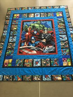 Marvel super heroes avengers quilt by me. x - Visit to grab an amazing super hero shirt now on sale! I Spy Quilt, Quilt Set, Rag Quilt, Quilt Blocks, Patchwork Disney, Disney Quilt, Patchwork Ideas, Quilting Projects, Quilting Designs
