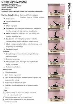 SHORT SPINE MASSAGE | Pilates Reformer PDF -Print