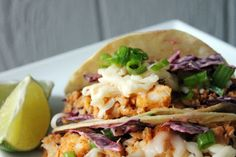 Greek Marinated Fish Tacos with Spicy Crunch Red Slaw