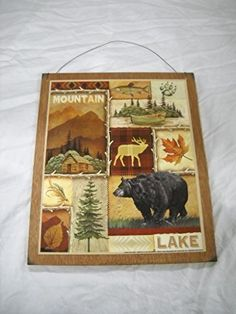 Mountain Lake Bear Deer Fish Lodge Cabin Camper Wooden Wall Art Sign -- You can get more details by clicking on the image.