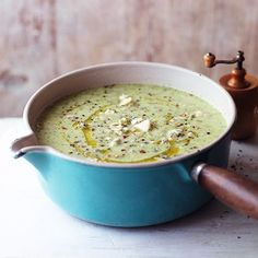 Broccoli and Stilton soup Broccoli and blue cheese soup – Good Housekeeping Broccoli Recipes, Veggie Recipes, Soup Recipes, Cooking Recipes, Healthy Recipes, Cooking Broccoli, Savoury Recipes, Cauliflower Recipes, Healthy Food