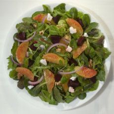 "Beets & Goat Cheese Salad - used mandarin oranges, Marie's Raspberry Vinaigrette and ""Love Beets"" to save time."