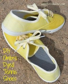Using inexpensive tennis or canvas shoes and a little bit of Rit dye, you can easily make these ombre  fashioned  foot wear.  Great way to re-purpose too. Terrific craft for youth activity, family fun, or to match your wardrobe. www.amothersshadow.com