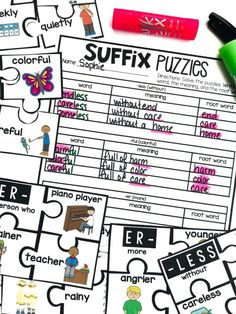 Teaching Suffixes #HollieGriffithTeaching #KidsActivities #HandsOnLearning