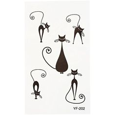 TOOGOO(R)Cat pattern Tattoo Sticker Waterproof beautiful paper Temporary tattoo Body Art * Learn more by visiting the image link. (This is an affiliate link) #TemporaryTattoos