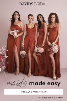 Coordinating your wedding party is a snap at David's Bridal. Our new mix-and-match dresses are designed to go together and flatter every friend. You choose the color and silhouette, then your maids pick their neckline. Bridesmaid Dress Colors, Wedding Bridesmaid Dresses, Dream Wedding Dresses, Wedding Gowns, Wedding Day, Wedding Entourage Gowns, Burnt Orange Bridesmaid Dresses, Flattering Bridesmaid Dresses, Burnt Orange Weddings