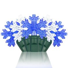 blue and white decorative snowflake lights perfect for winter weddings and christmas lighting click
