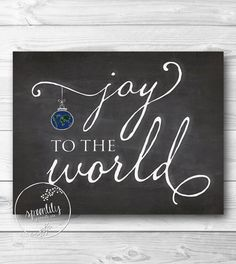 Joy to the World Chalkboard Style Instant Download, Printable Decor, Holiday Wall Art, Christmas Decor