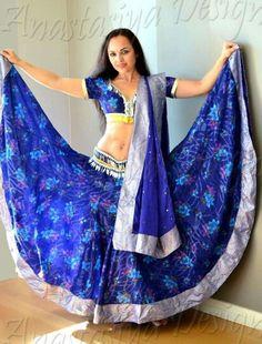 Bollywood Costume, Bollywood Dress, Dance Costumes, Tie Dye Skirt, Purple, Blue, Sari, Skirts, Fashion
