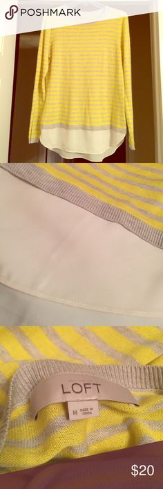 """Ann Taylor LOFT Striped Top! Long sleeves. Yellow and gray stripes. Very soft! Stretchy material! White fabric, attached, on the bottom to extend the length. Worn once. In great condition! Perfect to wear with dress pants or a skirt to work or date night. About 28"""" from top down and about 19"""" wide. Can also be a casual top with jeans or leggings for the weekend. You will love it! LOFT Tops Blouses"""