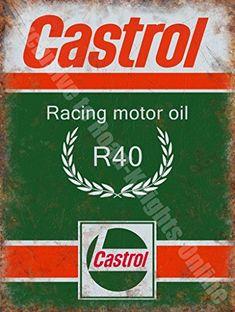 Castrol – Plaque murale métal / acier vintage garage bidon d'huile moteur course R Racing – 20 x 30 cm: Castrol – Plaque murale métal /…
