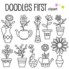 Doodle Potted Flowers Digital Clip Art for Scrapbooking Card Making Cupcake Toppers Paper Crafts