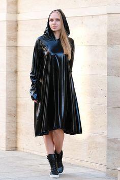 Black viscose leather dress / Latex loose dress / Hoodie plus size dress Latex Hood, Rubber Dress, Midi Dress Plus Size, Latex Dress, Viscose Dress, Leather Dresses, Leather Outfits, Hooded Dress, Vinyls