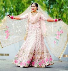 Image may contain: 1 person, standing Indian Wedding Outfits, Indian Weddings, Elie Saab Gowns, Bridal Lehngas, Rose Girl, Lehenga Designs, Gold Work, Diy Fashion, Custom Made