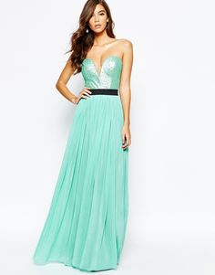 Rare+Sweetheart+Bandeau+Maxi+Dress+with+Sequin+Top