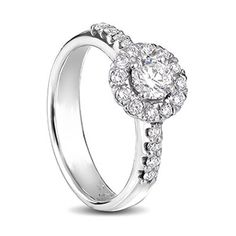 White gold classic diamond engagement ring with a round centre diamond Diamond Rings, Diamond Engagement Rings, Centre, Jewelry Design, White Gold, Wedding Rings, Jewels, Gallery, Classic