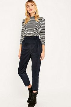 Urban Renewal Vintage Remnants Navy Cord Trousers - Urban Outfitters