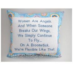 I need this pillow!!!!!!  Cross Stitch Pillow Funny Quote Blue Pillow Women by NeedleNosey