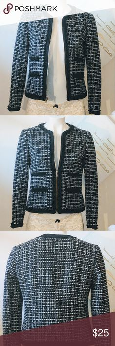 Modern Tweed Jacket, Ann Taylor Wool Jacket with super cute black and white stitching and gold zipper detail. Stay warm and look cute all at once  Petite Size 8 Ann Taylor Jackets & Coats