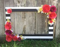 Gold Floral Frame, Photo booth prop with 3D flowers - perfect for photo booth for wedding, bridal shower or birthday party