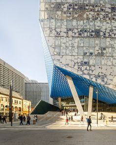 Ryerson University student centre by Snohetta features chamfered edges and a patterned glass facade.