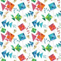 Tangram  Kites and Puppies (Mini Size) fabric by sarah_treu on Spoonflower - custom fabric