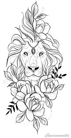 Lion flower tattoo Tattoo Design - Laurenceveillx Hi everyone! I'm a tattoo artist and I love to create tattoo designs and illustration. Lion Tattoo Design, Flower Tattoo Designs, Flower Tattoos, Lion Tattoo With Flowers, Lion And Rose Tattoo, Stencils Tatuagem, Tattoo Stencils, Leg Tattoos, Girl Tattoos