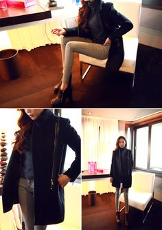 Zipped-Up Coat - I know you wanna kiss me. Thank you for visiting CHUU.