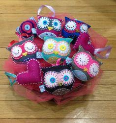 Felt Owl Plush Ornaments Tag Party Favors  Set of 6 by Glitteryjem, $30.00