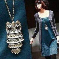 (Min order$10) Korean jewelry retro Owl Necklace long paragraph sweater chain,Free Shipping!#X00010-in Pendant Necklaces from Jewelry on Aliexpress.com