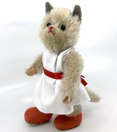 Kersa Kitty #Cat Doll Mohair Plush 20cm 8in ID Button 1950s Glass Eyes Vintage #Kersa AllOccasion