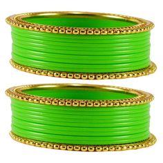 Vidhya Kangan Brass Women Bangles Color   Green Bangles on Shimply.com