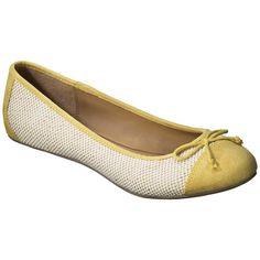 Women's Merona Madge Cap Toe Ballet Flat - Yellow ($9.98) ❤ liked on Polyvore featuring shoes, flats, ballet flats, bow ballet flats, bow flats, flat shoes and round toe flats