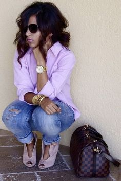 lavender button up #casual #chic