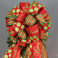 This large red and green Christmas tree topper bow is created with 3 bright color holiday ribbon. Shop for great selection of Christmas tree topper bows Ribbon On Christmas Tree, Christmas Bows, Green Christmas, Holiday Tree, Diy Christmas Gifts, Christmas Holidays, Merry Christmas, Christmas Ideas, Christmas 2017