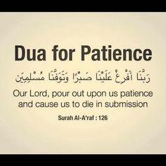 Dua for Patience. Allah Quotes, Muslim Quotes, Quran Quotes, Religious Quotes, Hindi Quotes, Islamic Prayer, Islamic Teachings, Islamic Dua, Duaa Islam