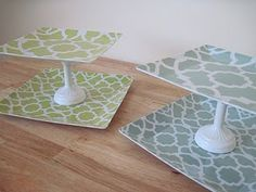 DIY Cake stands using thrift store plates. A candle stick or wine glass. A diy stencil printed out and spray paint.