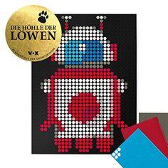"dot on Roboter Poster - 30 x 40 cm Bekannt Aus""Die Höhle Der Löwen"" dot on art Diy Kleb Dir Dein Eigenes Kunstwerk robot Pixel Art, Diy Poster, Drink Sleeves, Invitations, Feelings, Gifts, Inspiration, Ideas, Lion's Den"