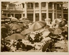 "eastmanhouse: ""Umbrellas, Long Beach, California Umbrellas Original photographer: Alvin Langdon platinum print Image: x cm x 16 in. Long Beach California, Photo Archive, Vintage Images, Seaside, Surfing, Umbrellas, Awesome, Life, Beautiful"