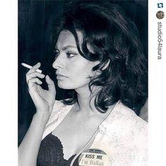 #Repost @studio54laura with @repostapp. #womanwithcigarette Love the Kiss me badge Sophia ...
