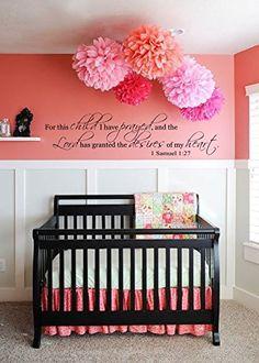 Ideas for baby girl nursery room ideas color schemes pom poms Girls Bedroom, Girl Nursery, Girl Room, Nursery Decor, Nursery Room, Tissue Pom Poms, Paper Pom Poms, Tissue Paper, Diy Paper