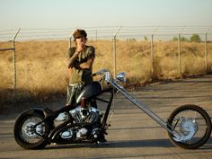 Tommy Lee and his sugar bear springer evo chopper