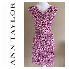 Ann Taylor Ruched Curve Hugging Dress Size 6 Size 6 Ann Taylor curve hugging ruched dress with BEAUTIFUL bright pink and purple print just perfect for spring! This dress is SO flattering and is stretchy! EUC. I removed the brand & size tag as they itched me. 10% off bundles. Ann Taylor Dresses Midi